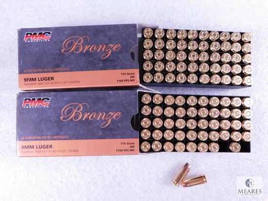 100 Rounds PMC 9mm Ammo. 115 Grain Jacketed Hollow Point Self Defense Ammo