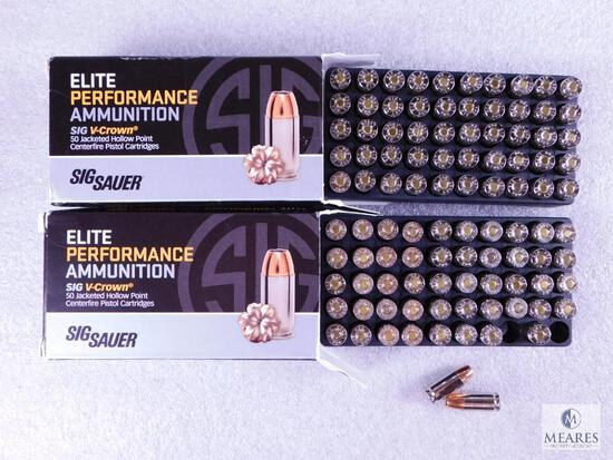 100 Rounds Sig Sauer 9mm Ammo. 115 Grain Jacketed Hollow Point Self Defense