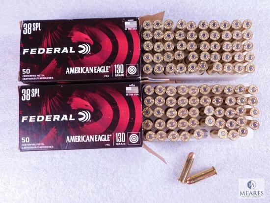 100 Rounds Federal American Eagle .38 Special Ammo. 130 Grain FMJ