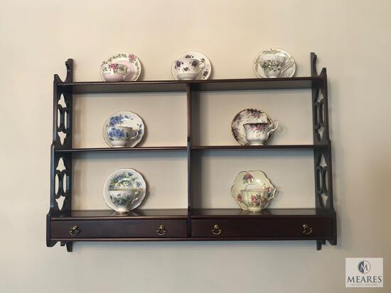 Wood Wall Shelf with (7) China Teacup & Saucer Sets