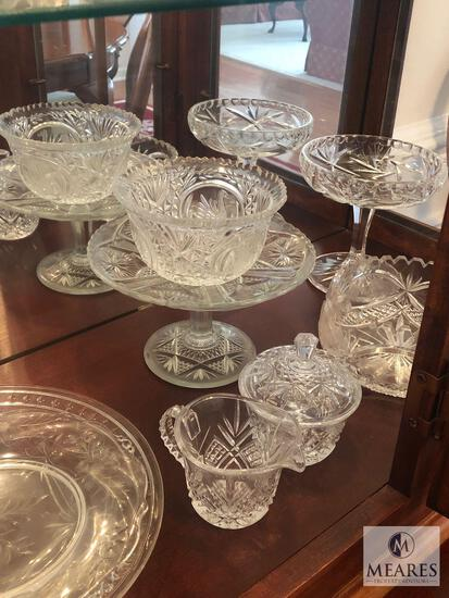 Contents of Hutch - Assorted Crystal, Silver Plated, and Glass Serving Items & Vases