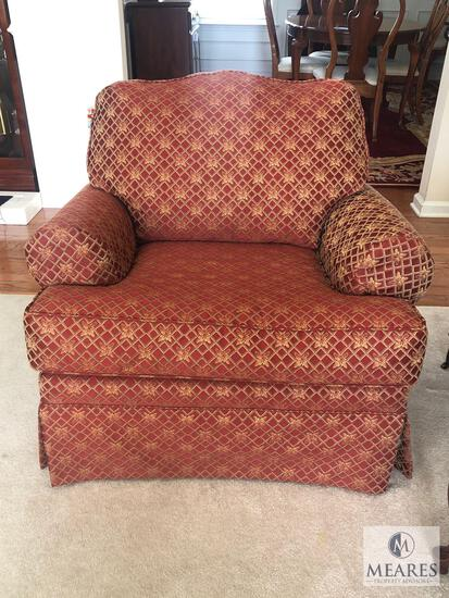 Burgundy & Gold Tone Upholstered Chair