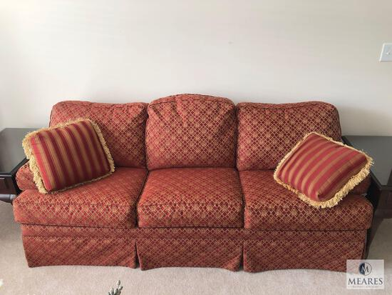 Burgundy & Gold Tone Upholstered Sofa Couch
