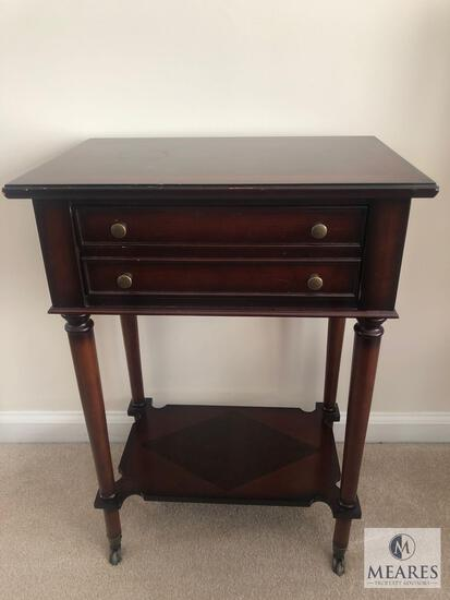 Vintage Wood Side Table with Drawer
