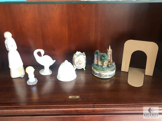 Lot of Assorted Porcelain Decorations includes Thomas Kinkade Lamplight Music Box