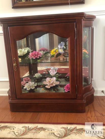 Colonial Cherry Wood & Glass Small Curio Jasper Cabinet