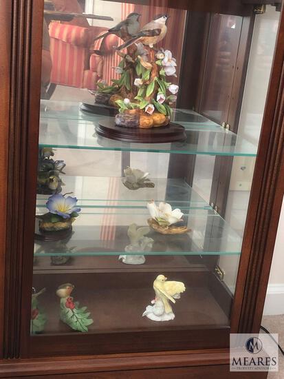 Bottom Three Shelves of Curio Cabinet - Assorted Bird & Flower Porcelain Decorations
