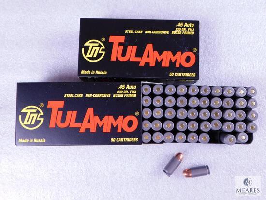 100 Rounds Tula .45 ACP 230 Grain FMJ Ammo