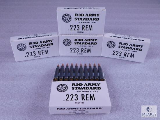 100 Rounds Red Army .223 REM 55 Grain FMJ Ammo