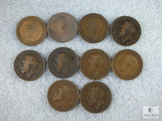 10 Different British Large Cents 1911-1919 & 1921