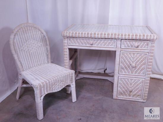 Wicker Desk and Chair - Glass Top on Desk