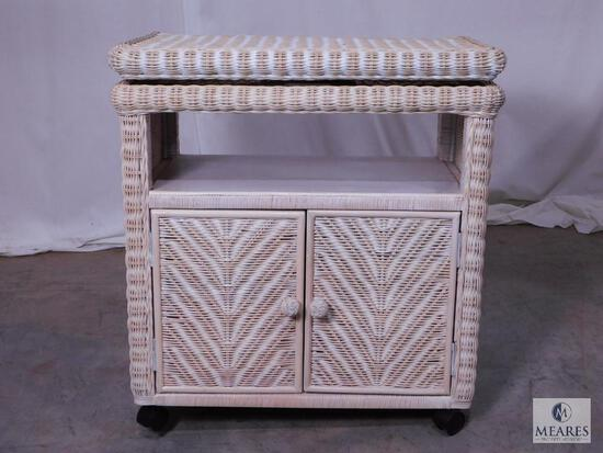 Rolling Wicker TV Table with Rotating Top