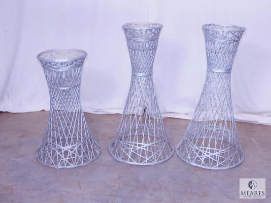 Three Silver-colored Wicker Plant Stands