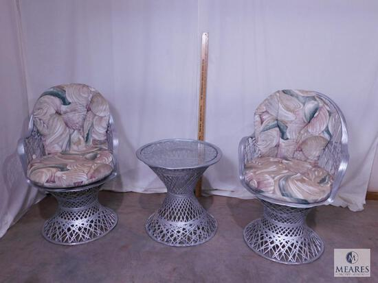 Two Silver-colored Wicker Chairs and Occasional Table