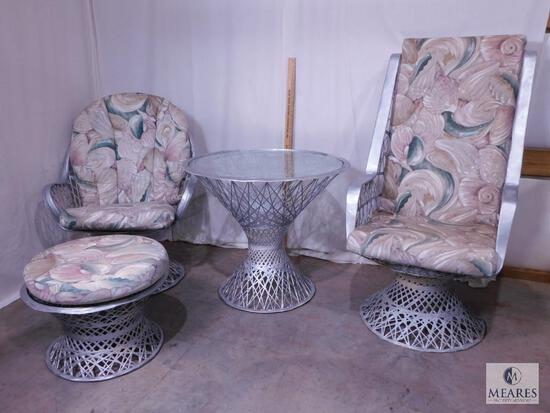 Two Silver-colored Wicker Chairs and Occasional Table with Ottoman