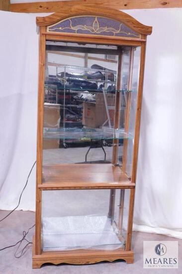 Wooden Display Case with Glass Shelves and Front/Sides