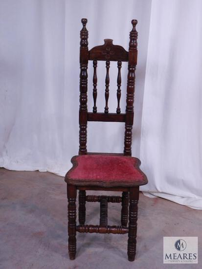 Wooden Prayer Chair with Upholstered Seat
