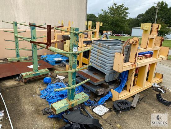 Metal Lot Behind Building - Metal Racks and Storage Boxes