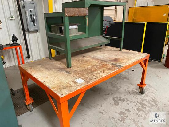 Rolling Work Table with Green Storage Unit