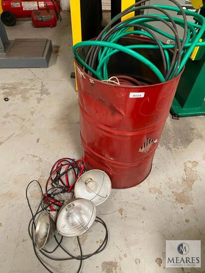 55-gallon Drum with Wire, Hoses and Portable Lights
