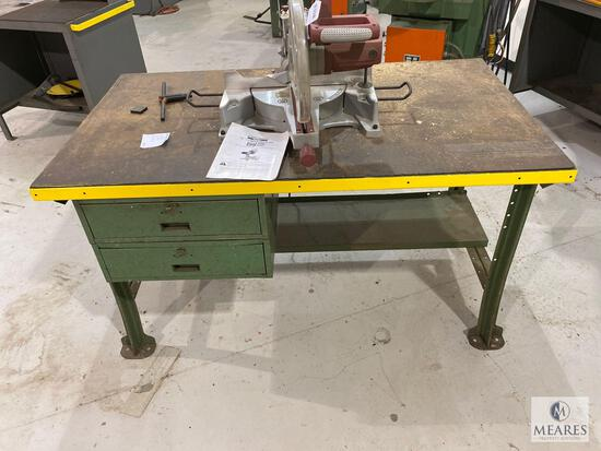 """Chicago 12"""" Compound Miter Saw Mounted on Metal Worktable"""