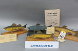 Lot of 4 James Cottle Carved Fish Decoys