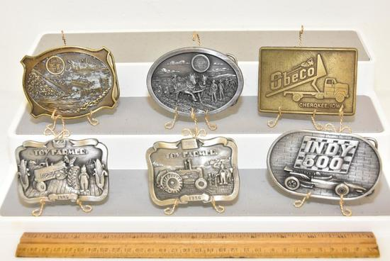 "BELT BUCKLES INDY 500 ""THE BRICKYARD"" MEMORIAL DAY 1977 (N-96), OBECO MADE IN USA, TOY FARMER 1985"