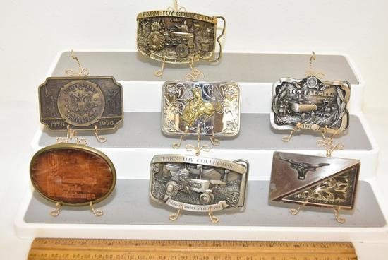 BELT BUCKLES MINNEAPOLIS GRAIN EXCHANGE- LEATHER FRONT- EL CID, LONG HORN-NICKLE SILVER, BUCKING
