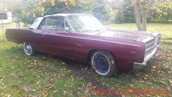 1967 Plymouth Sport Fury 3 convertible. Features big block engine and automatic transmission. Car is