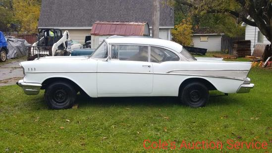 1957 Chevrolet Belair 2 door rolling chassis. Complete car minus engine and transmission, ready for