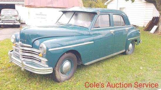 1949 Plymouth deluxe 4 door. Features 6 cylinder Flathead engine with automatic transmission. Ran