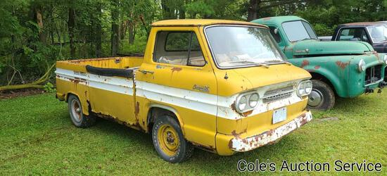 1962 Chevrolet Corvair model 95 rampside truck. Odometer shows 43,000 miles. No title, no engine and