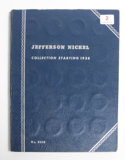 Whitman Jefferson Nickel album, partial, with 10 silver wartime nickels