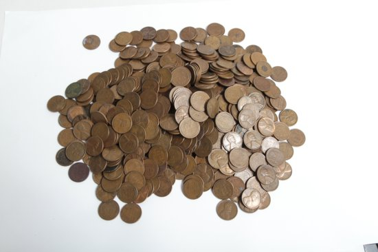 Lot of 530+ circulated Lincoln wheat cents, all 40's/50's