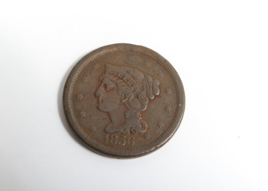 1856 Braided Hair large cent--G/VG
