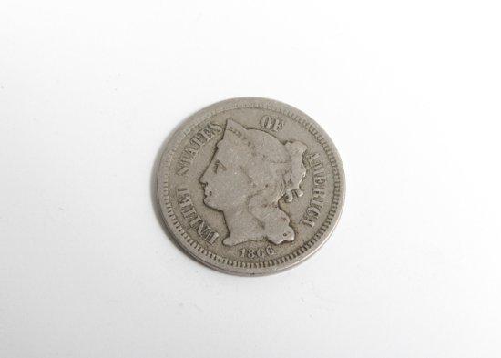1866 copper-nickel three cent piece--G/VG