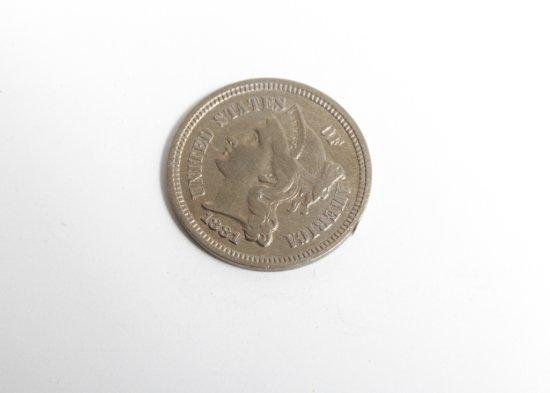 1881 copper-nickel three cent piece--VF