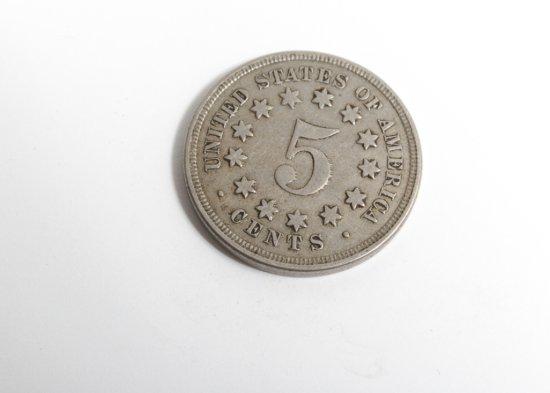 1867 Shield nickel, Fine or better, die crack near date
