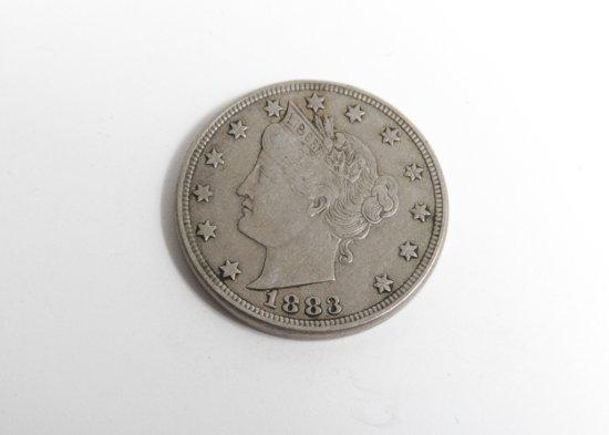 1883 Liberty Head nickel, no cents, VF