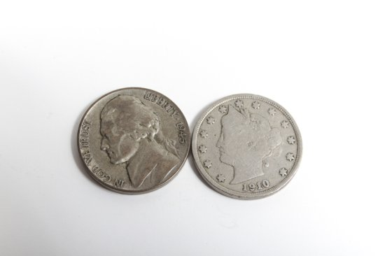 Lot of 2: 1910 Liberty nickel and 1945-D Jefferson silver wartime nickel