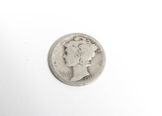 1921 Mercury dime, AG, one of the key dates