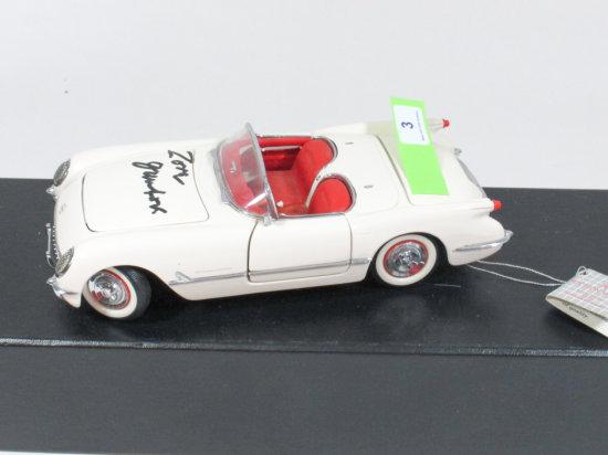 "Franklin Mint Precision Models white 1953 Corvette 1:24 Ratio Die Cast Signed ""Zora Duntov"""