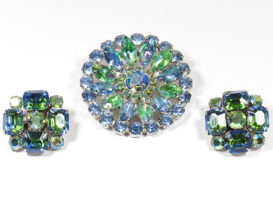 Beautiful Blue/Green Vintage Rhinestone Earrings & Brooch