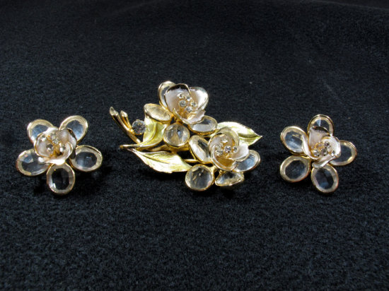 Gorgeous Signed Vendome Floral Brooch & Earring Set