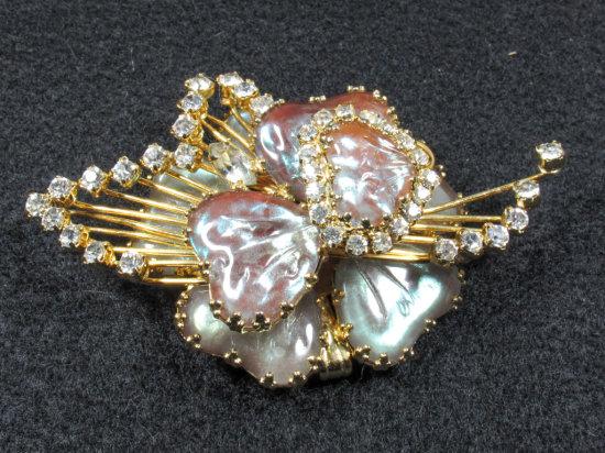 Signed Hobo Glass Shamrock Styled Brooch/Pendant