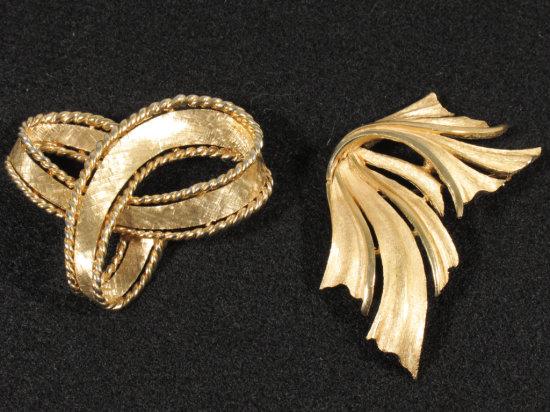 Signed Boucher Gold Tone Brooch & Trifari Brooch