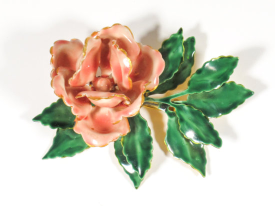 Signed Sandor Enamel & Gold Tone Floral Brooch