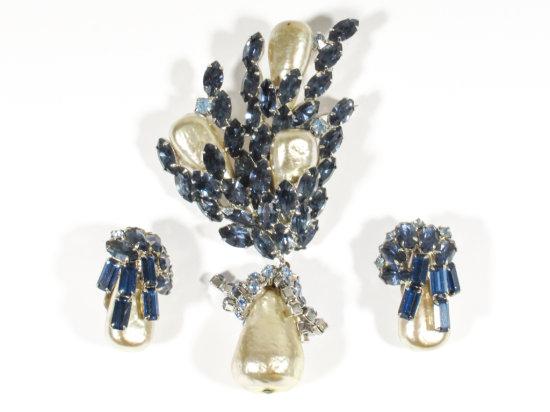 Large Blue Crystal & Pearl Schiaparelli Brooch & Earrings