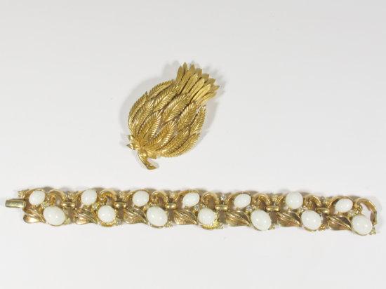 Gold Tone Crown Trifari Bracelet & Separate Crown Trifari Signed Brooch
