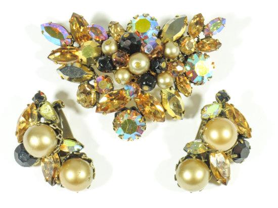 Regency Jewels Amber Colored Signed Brooch & Earring Set